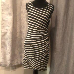 Black & white striped mini dress